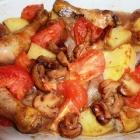 Poulet braisé aux pommes de terre et aux tomates