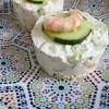Cheesecake concombre & crevettes